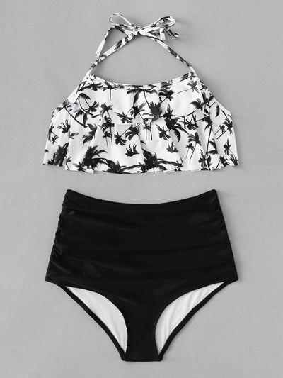 Ruched Tropical Flounce Bikini Set - High Waist Swimwear