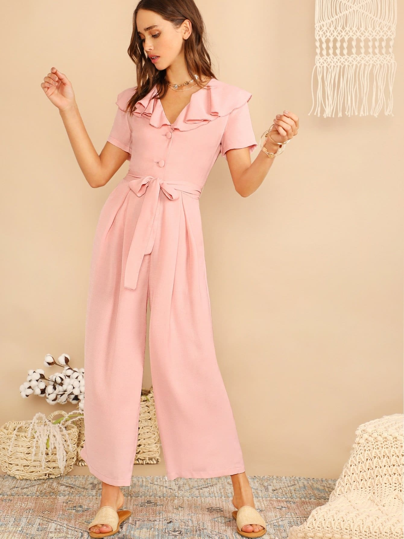Ruffle Trim Half Placket Wide Leg Belted Jumpsuit - XS - Womens Jumpsuits