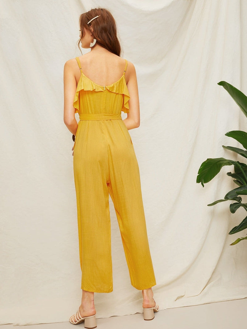 Ruffle Trim Self Tie Cami Jumpsuit - S - Womens Jumpsuits