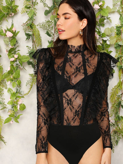 Ruffle Trim Sheer Mesh Lace Bodysuit Without Bra - Bodysuits