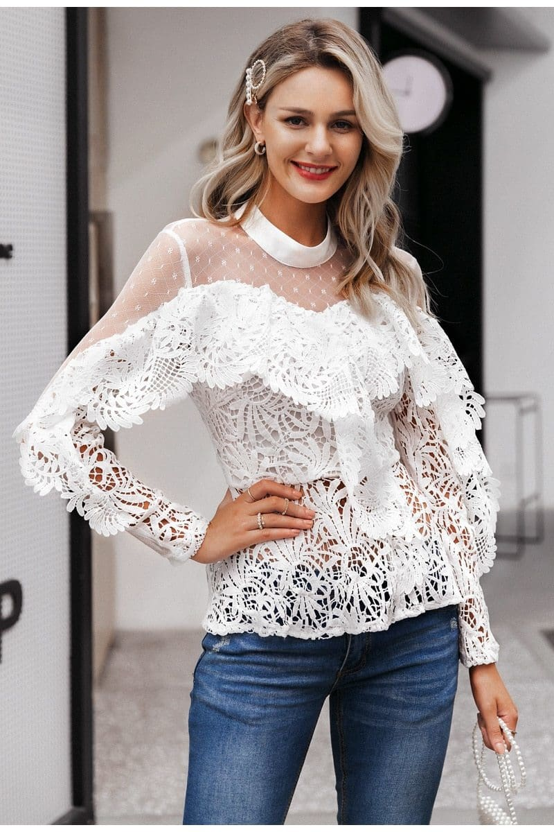 Ruffled Lace Mesh Embroidery Hollow Out Blouse - White / S - Blouses