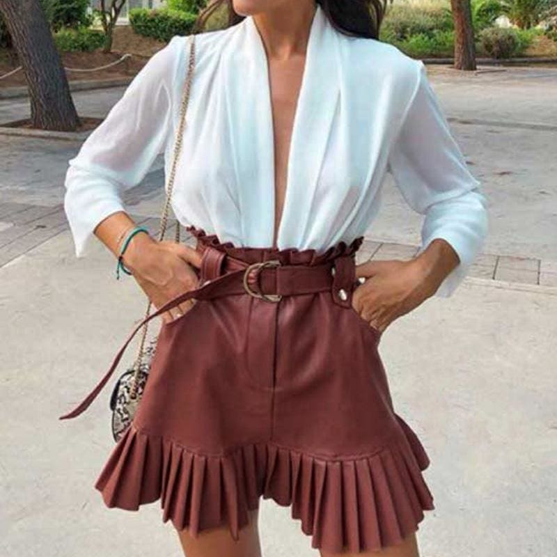 Sash Belt PU Leather Ruffled High Waist Skirt