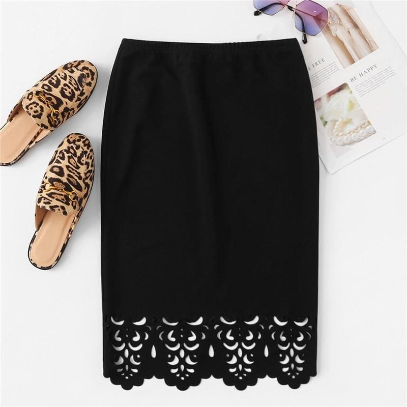 Scallop Edge Laser Cut Pencil Office Skirt - Black / XS - Skirts