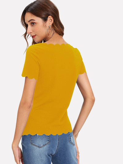 Scallop Edge Solid Top - Shirts