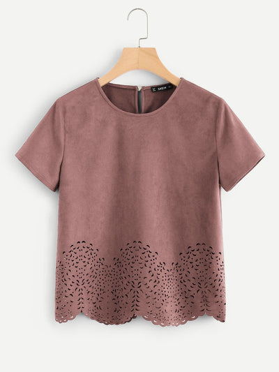 Scallop Laser Cut Out Top - Shirts