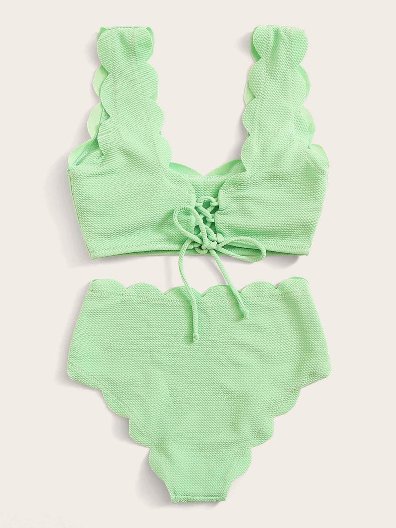 Scallop Trim High Waist Textured Bikini Set - Green pastel / S - High Waist Swimwear