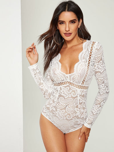 Scalloped Plunge Neck Lace Bodysuit - Bodysuits