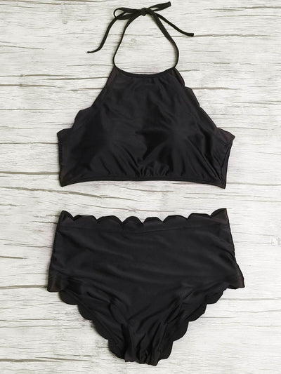 Scalloped Trim Halter High Waist Bikini Set - High Waist Swimwear