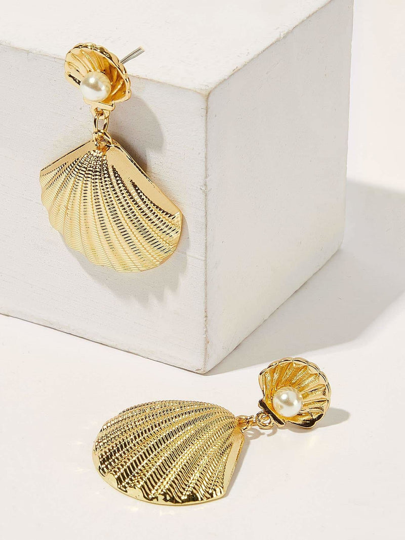 Seashell Shaped Drop Earrings 1pair