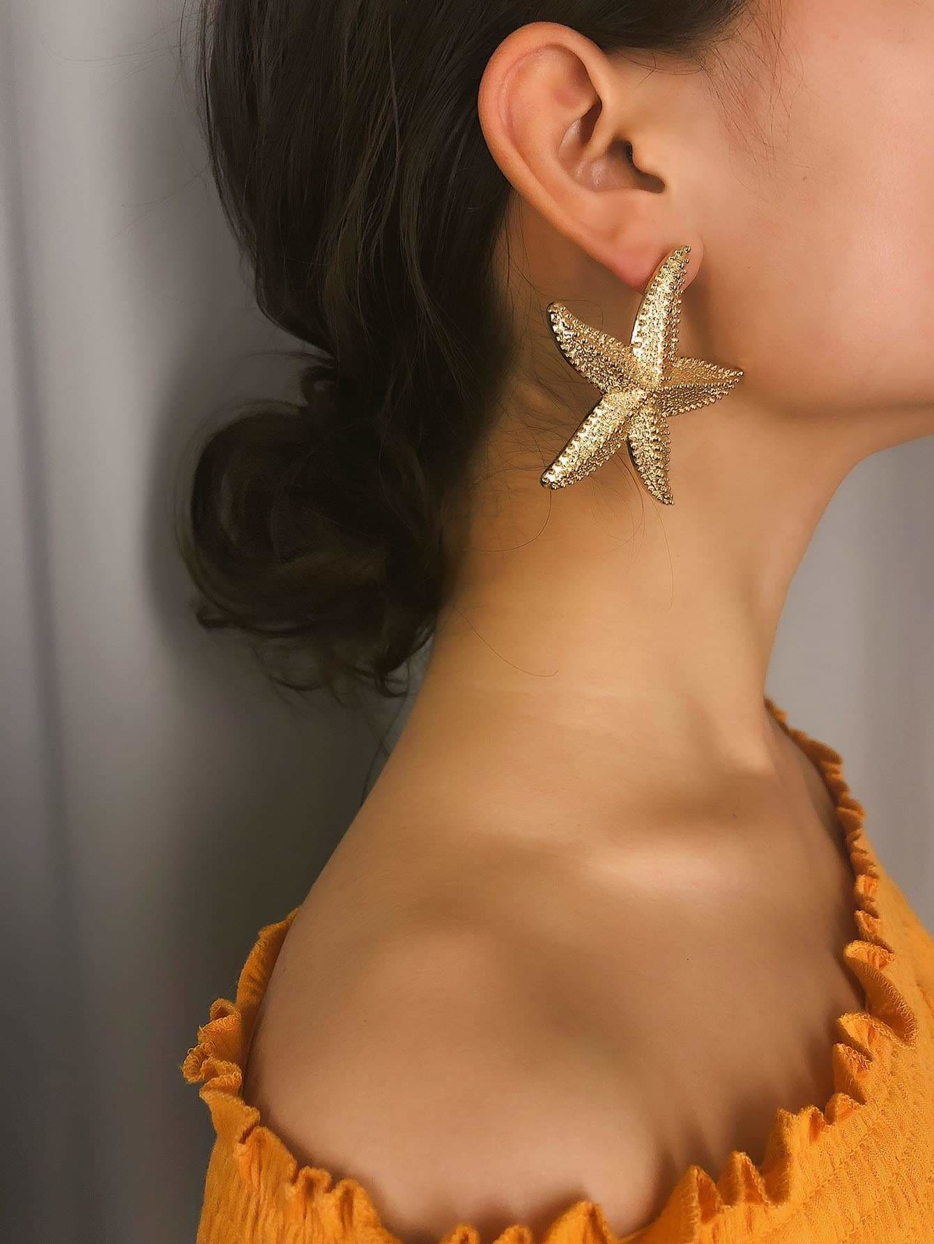 Seastar Shaped Stud Earrings 1pair - Earrings