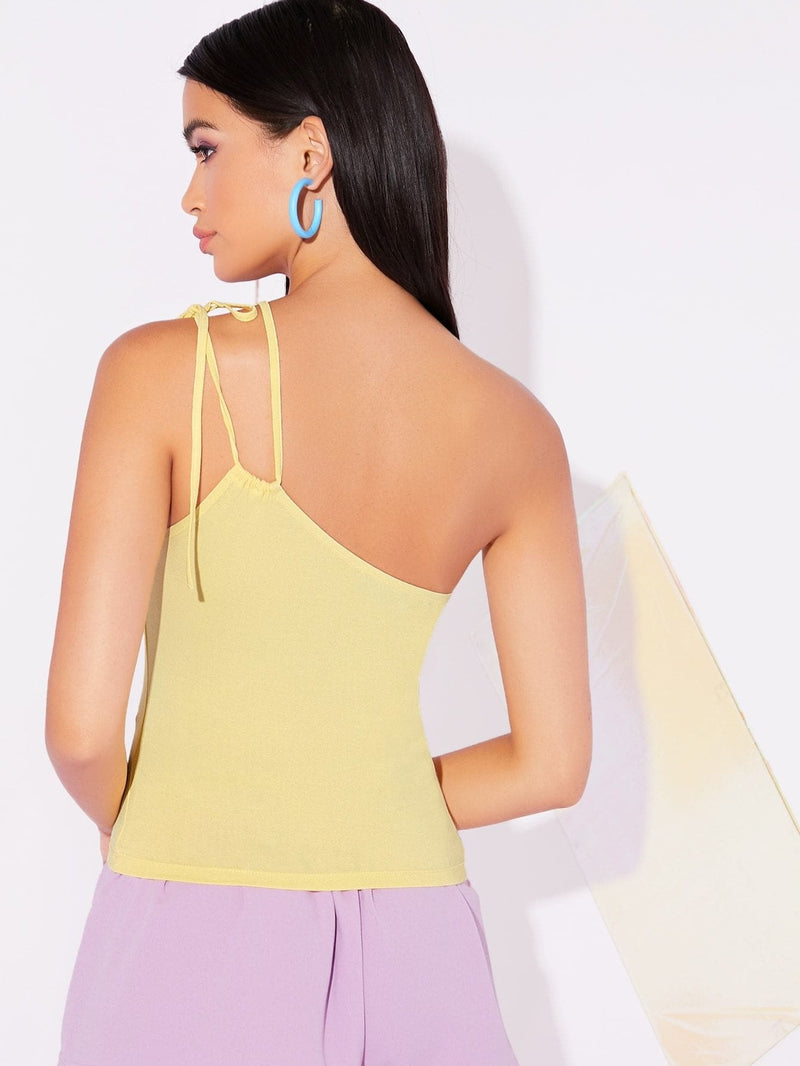 Self Tie One Shoulder Fitted Top