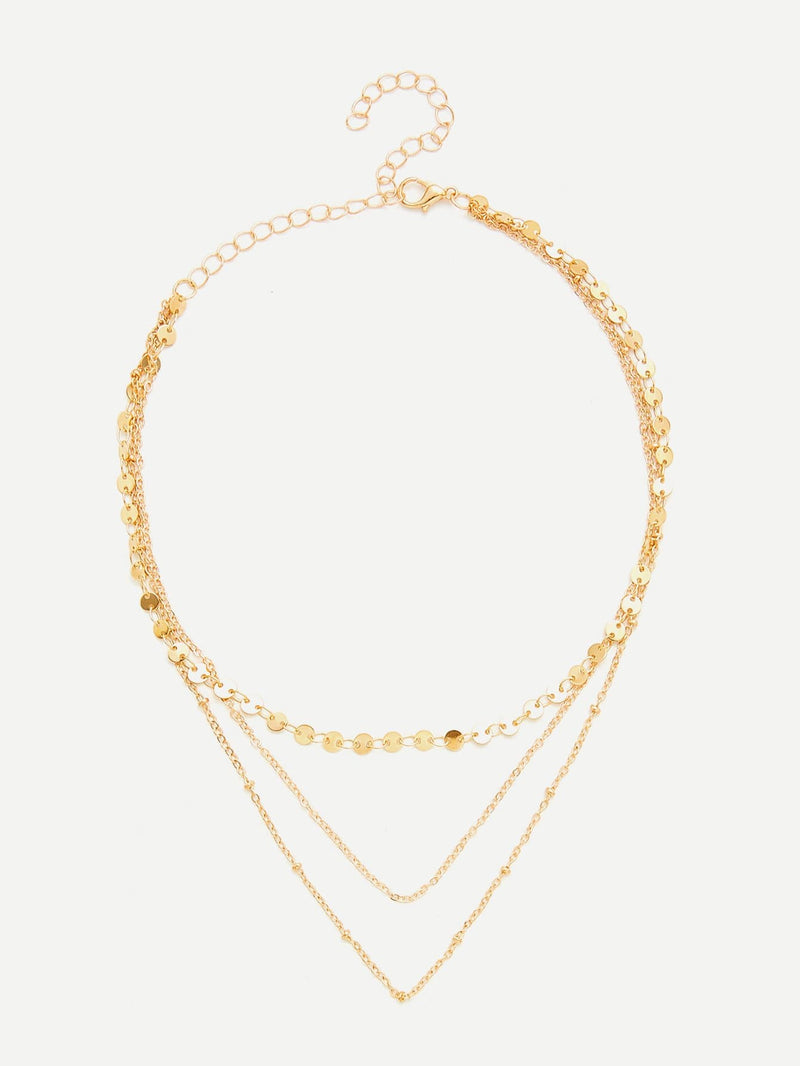 Sequin & Chain Layered Necklace - Necklaces