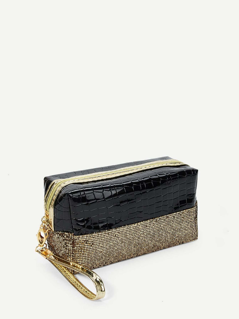 Sequin Decorated Two Tone Makeup Bag