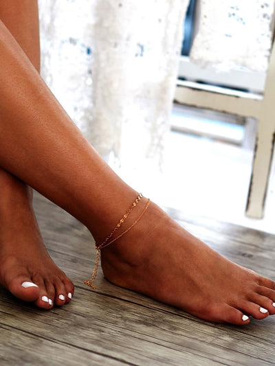 Sequin Detail Double Layer Anklet Body Jewelry - Body Jewelry