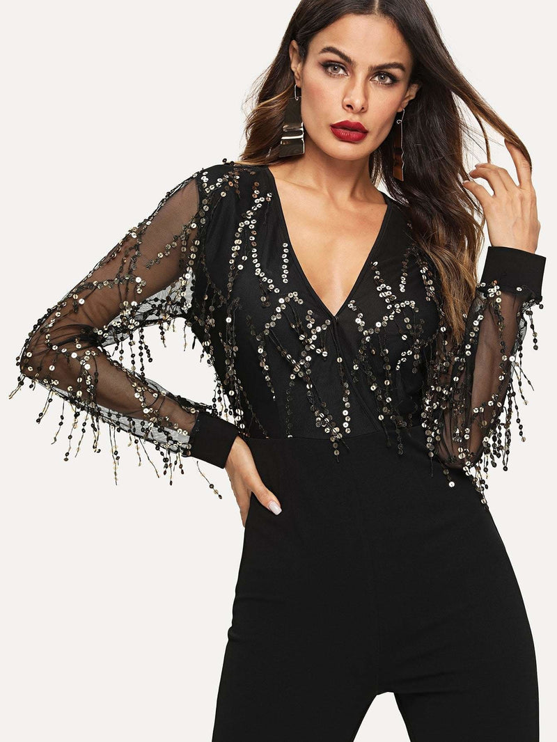 Sequin Embellished Mesh Sleeve Fitted Jumpsuit - Womens Jumpsuits