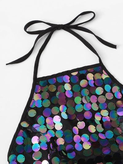 Sequin Knot Back Halter Festival Top - Crop Tops