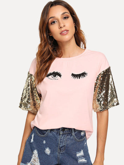 Sequin Sleeve Wink Eyes Print Tee - Shirts