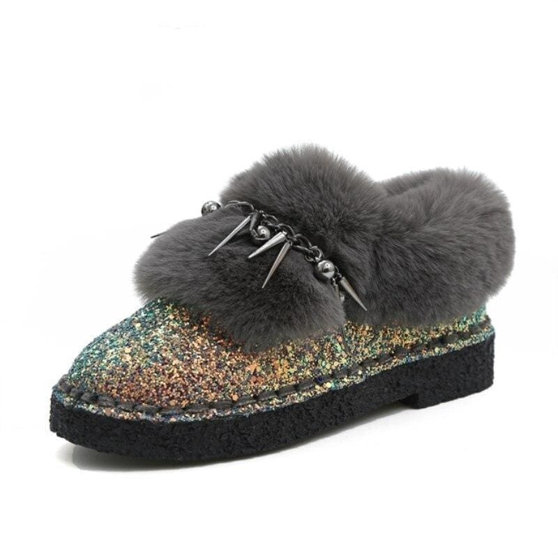 Sequined Cloth Suede Leather Warm Boots - Womens Sneakers