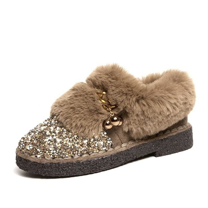 Sequined Cloth Suede Warm Fur Boots - Khaki / 9 - Womens Sneakers