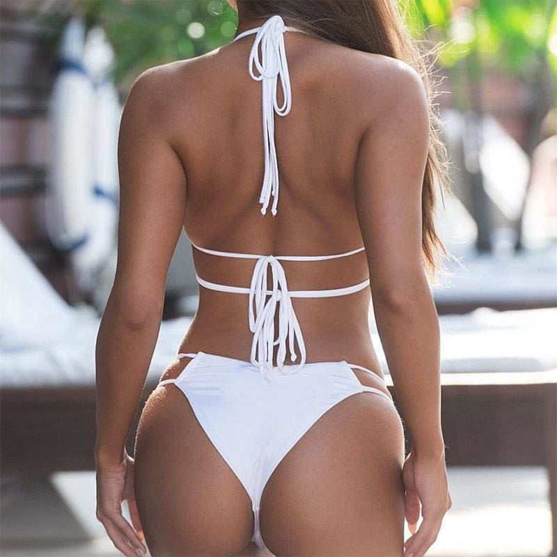 Sexy Crystal Triangle Bandage Push Up Bikini Set - Bikini