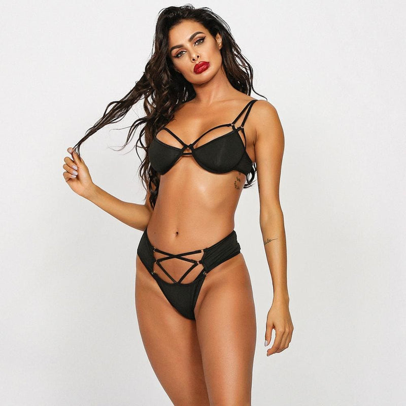Sexy Hollow Out Bandage Lingerie Set - black / S - Lingerie