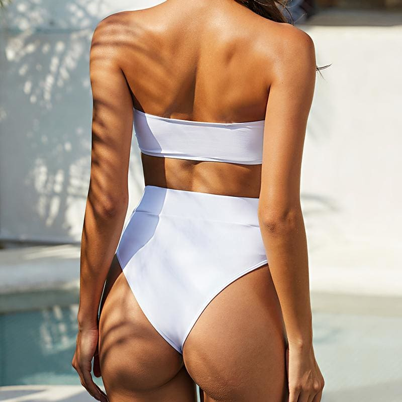 Sexy Hollow Out High Cut Bandeau Bikini Set - White / M - High Waist Swimwear