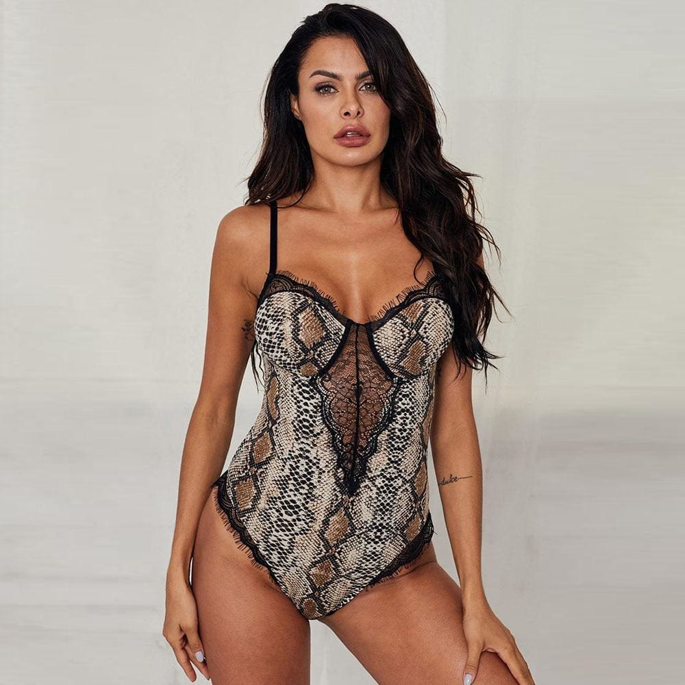 Sexy Lace Backless Leopard Print Bodysuit