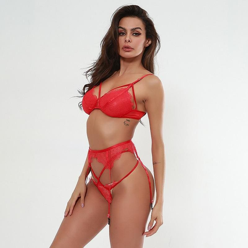 Sexy Lace Bralette And Thong Bandage Lingerie - Red / L - Lingerie