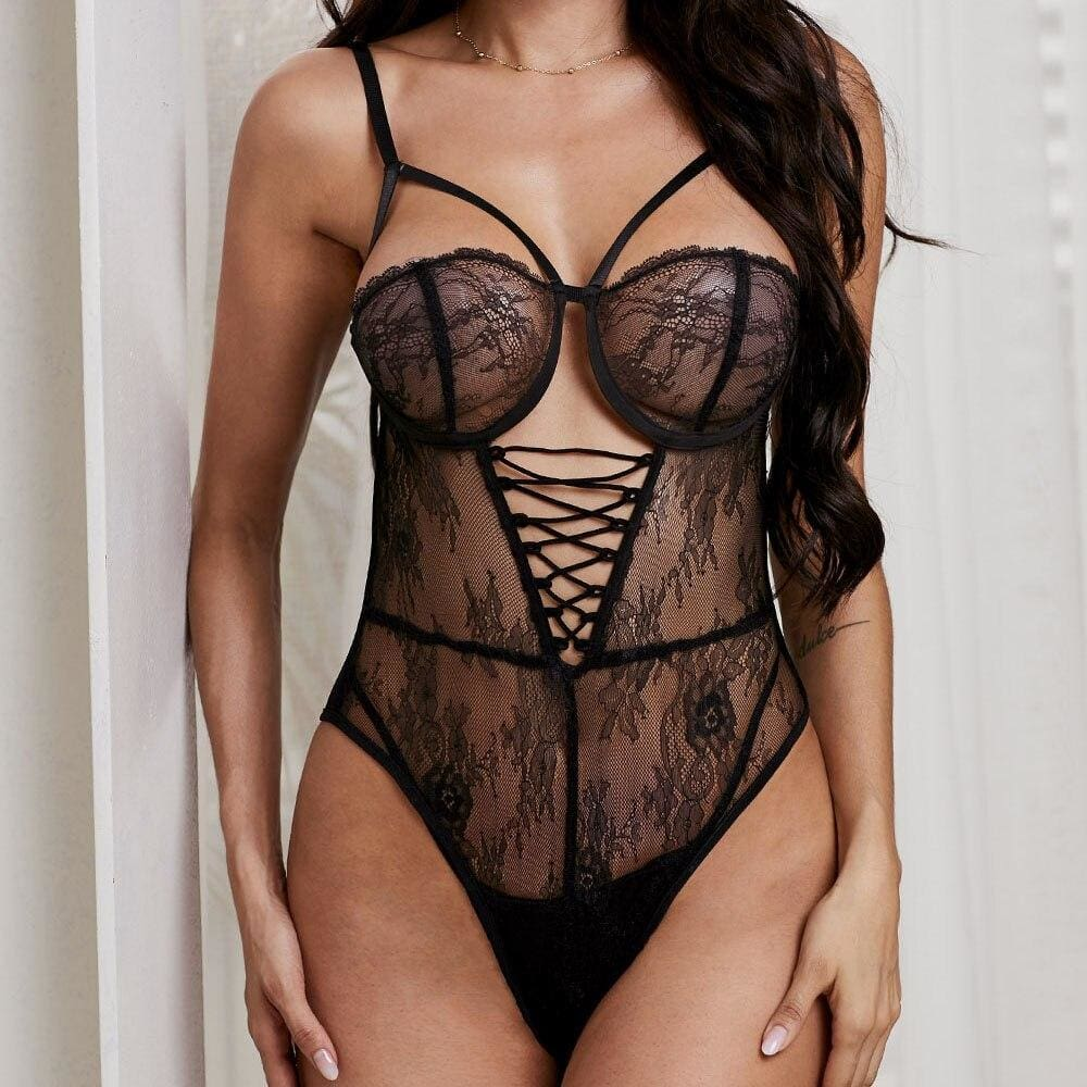 Sexy Lace up Cross Sheer Hollow Out Teddy Bodysuit