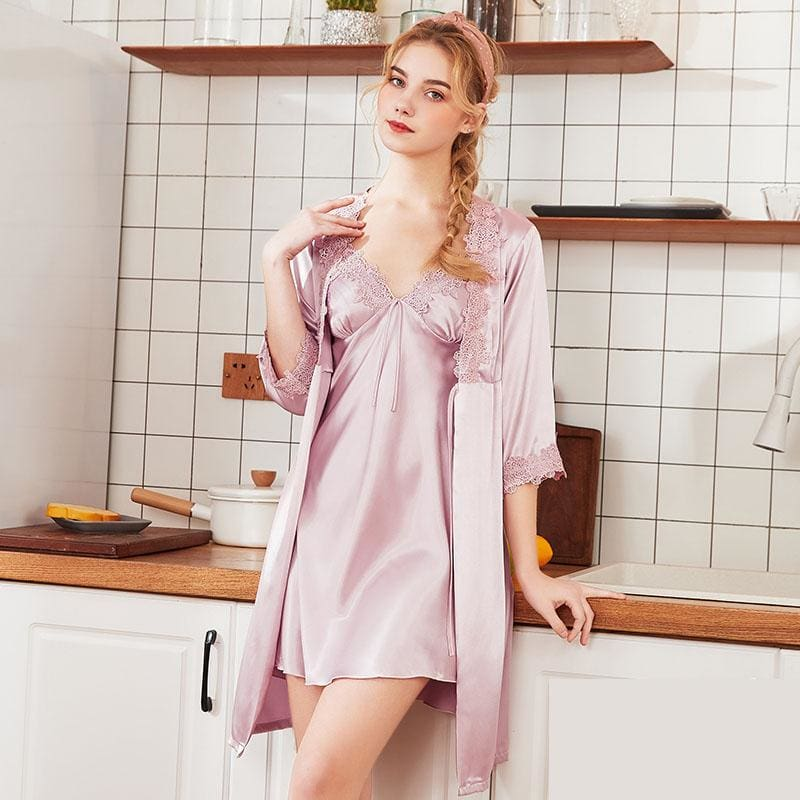 Sexy Robe Faux Silk Nightgown - Lavender / L - Nightwears