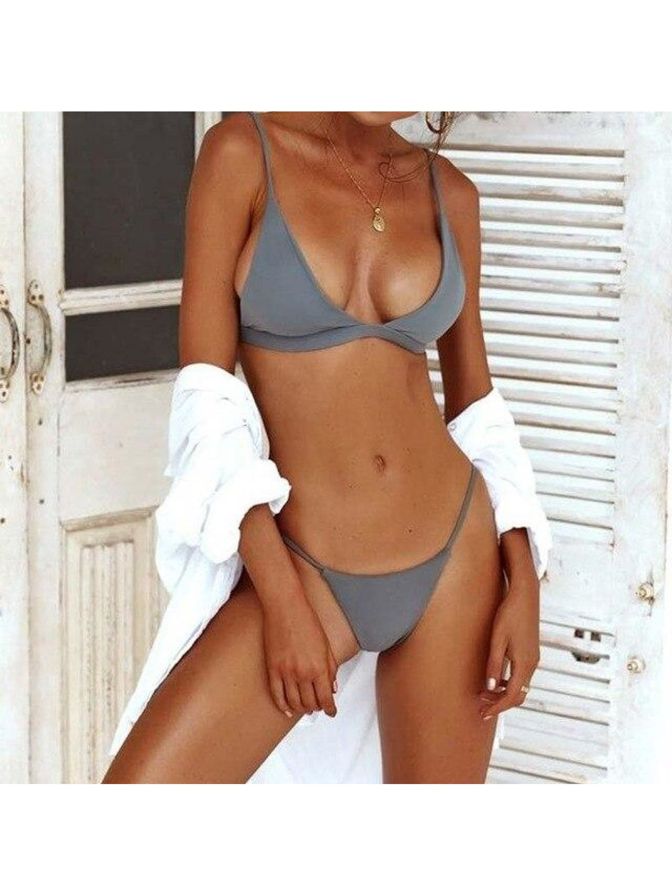 Sexy Triangle Push Up Brazilian Swimsuit - Gray / S - Bikini