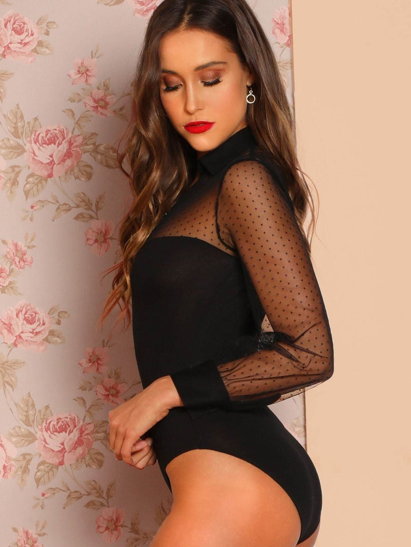 Sheer Dot Mesh Insert Buttoned Skinny Bodysuit - XS / Black - Bodysuits