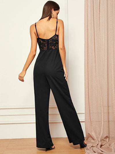 Sheer Lace Bodice Straight Leg Cami Jumpsuit - Womens Jumpsuits