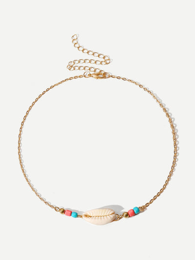 Shell Detail Chain Choker - Necklaces