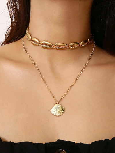 Shell Pendant Double Layered Necklace - Necklaces