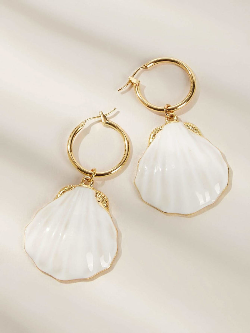 Shell Pendant Drop Earrings 1pair
