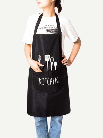 Shovel Print Apron With Pocket - Kitchen & Table Linens