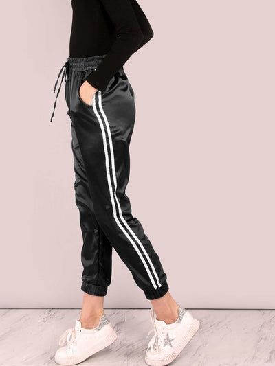Side Striped Satin Trainer Joggers - Fittness Leggings