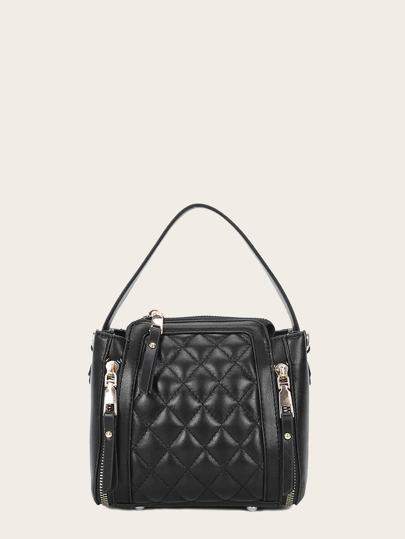 Side Zipper Decor Quilted Satchel Bag