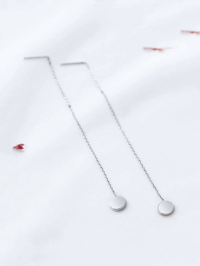 Silver Chain Strand Drop Earrings - Earrings