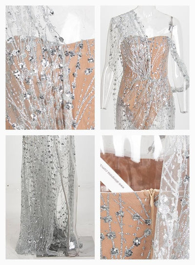Silver Cross Cut Out Straps Glitter Glued Sequin Prom Maxi Dress - Dresses