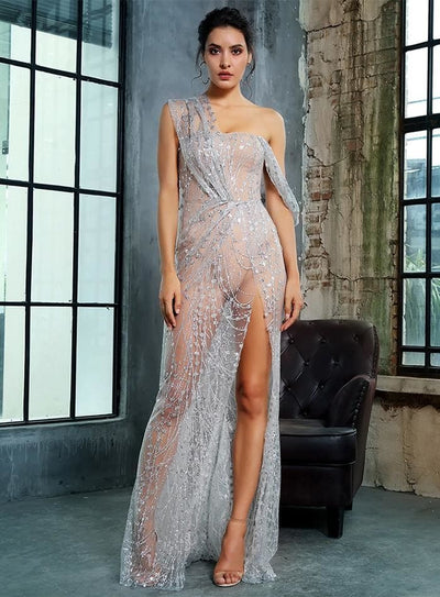 Silver Cross Cut Out Straps Glitter Glued Sequin Prom Maxi Dress - SILVER / XS - Dresses