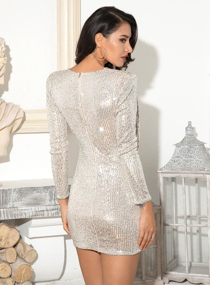 Silver Deep V-neck Draped Sequin Cross Party Mini Dress - SILVER / XS - Dresses