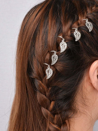 Silver Leaf Shaped Dreadlock Hair Accessory Set - Hair Accessories
