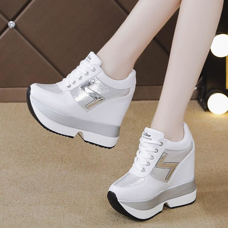 Silver Leather Platform Sneakers - White / 6 - Womens Sneakers