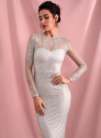 Silver Perspective Back Prom Glitter Glued Maxi Dress - Dresses