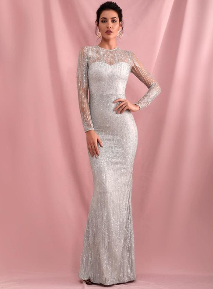 Silver Perspective Back Prom Glitter Glued Maxi Dress