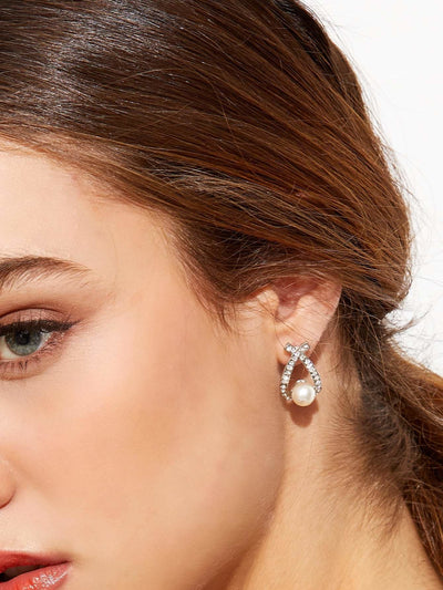 Silver Plated Faux Pearl Rhinestone Stud Earrings - Earrings