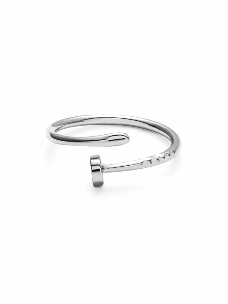 Silver Plated Screw Wrap Ring - Rings