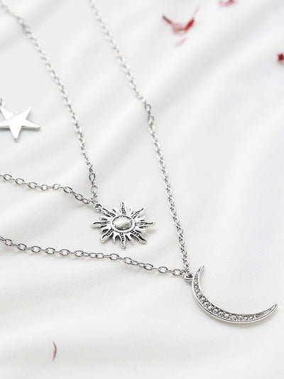 Silver Star Sun Moon Pendant Layered Necklace - Necklaces